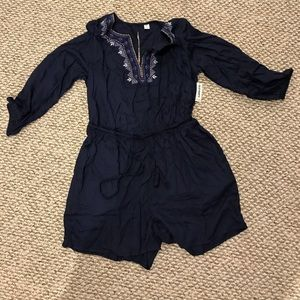 Navy blue shirt long sleeve romper brand new